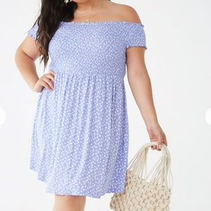 Forever 21   Plus Size Blue Ditsy Floral Dress